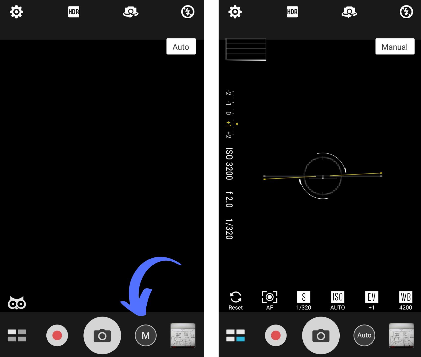 Capturas de tela mostrando como ativar a função manual da câmera