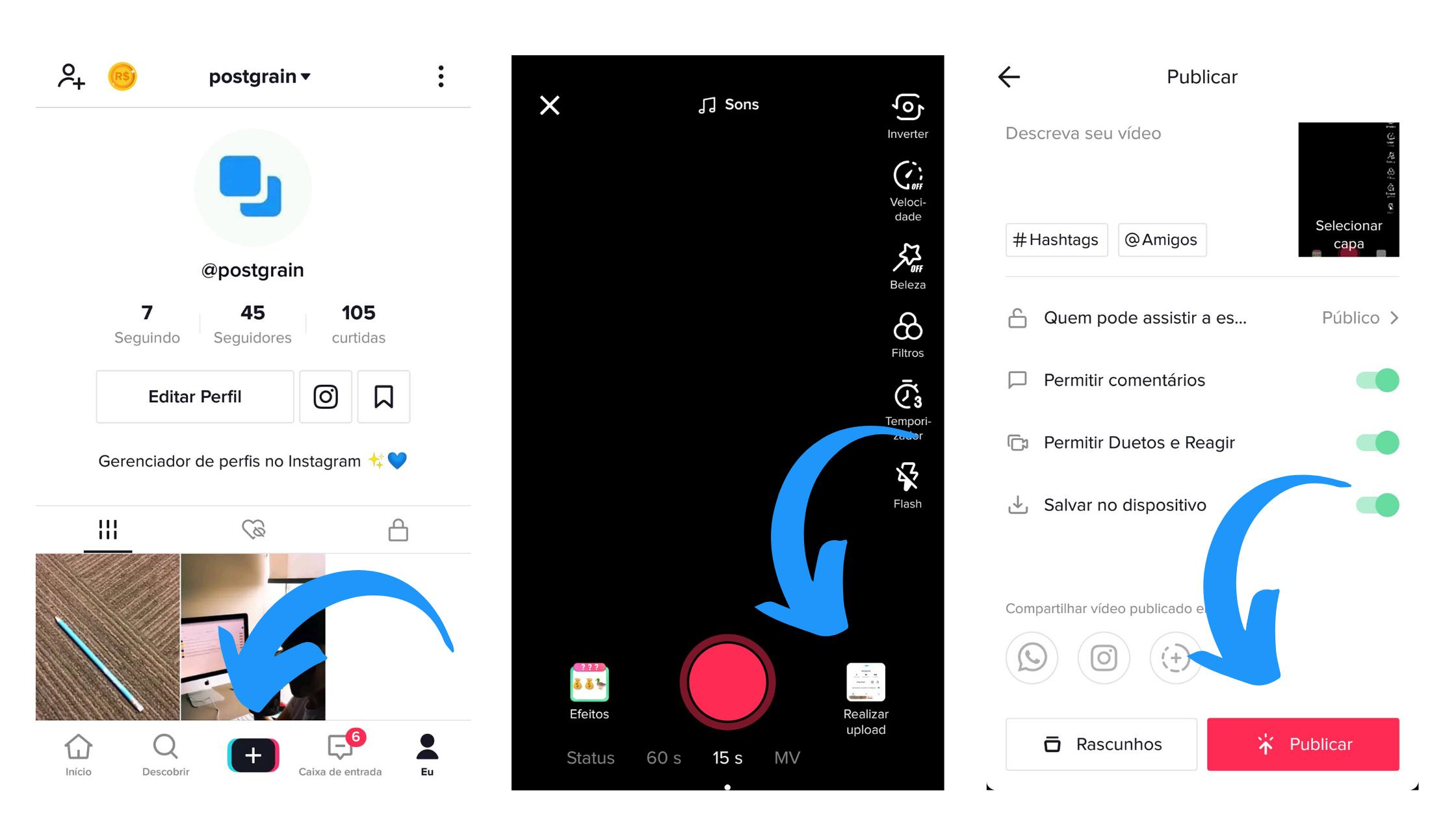 Captura de tela mostrando como repostar um story do Instagram no TikTok