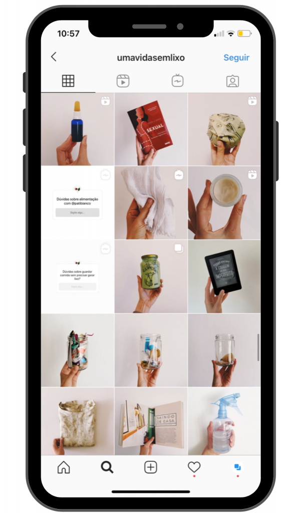 Ao pensar no planejamento pro Instagram, pense na estética do Feed